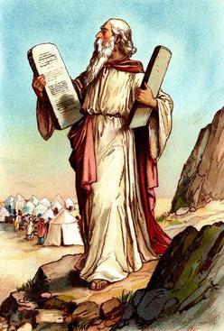 Mozes daalt af naar het volk met de tien geboden in zijn tien geboden